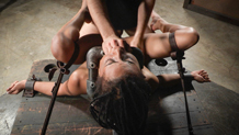 Bound and shackled Kira Noir ready for the use