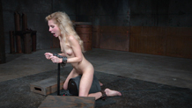 Shackled on a sybian, Odette Delacroix cums hard