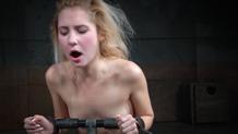 Bound Odette Delacroix sucks dick on a sybian