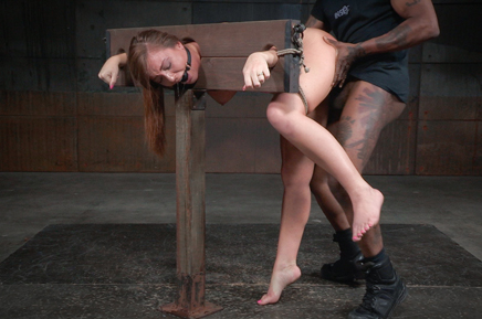 Ballgagged Maddy O'Relly roughly fucked in bondage by B
