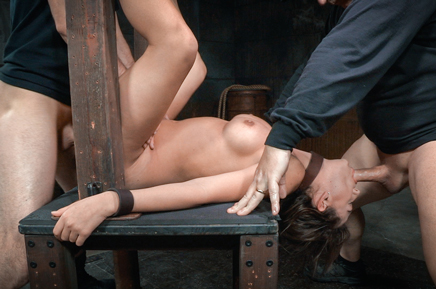 Bound Charlotte Cross taken from both ends by hard cock