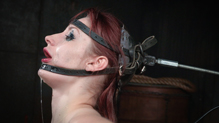 Sexy Violet Monroe deepthroats BBC bound in blowjob machine