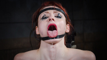 Violet Monroe sucks cock restrained in the blowjob machine