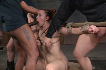 Bound Bella Rossi gives handjobs as she deepthroats BBC