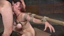 Flexible Bella Rossi deepthoats BBC in strict bondage