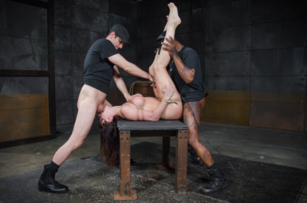 Spit roasted Chanel Preston taken from ends by hard cock
