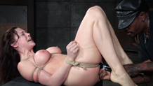 Sexy Chanel Preston mouth and pussy fucked in rope bondage