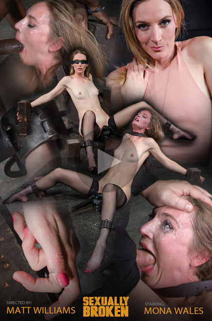 Sexy Mona Wales shackled and throat trained by 3 cocks