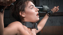 Collared Charlotte Cross does epic deepthroat on dick