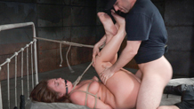 Rope bound Maddy O'Reilly tossed around on bed