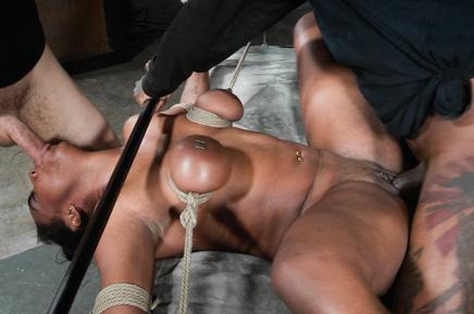 Rope bound Lisa Tiffian sucks cock as she is BBC fucked