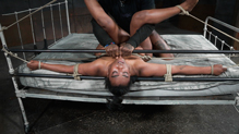 Bound Lisa Tiffian deepthroats as she is roughly fucked