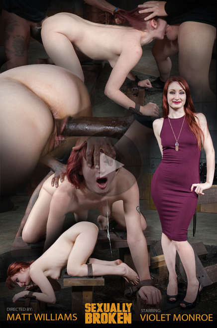 Drooling Violet Monroe roughly fucked doggystyle in bondage