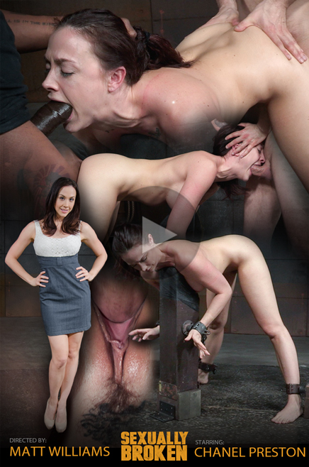 Busty Chanel Preston shackled down and fucked by two cocks
