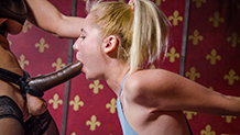 tiny blond dominated by lesbian MILF with a huge cock