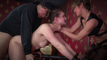 Endza Adair face fucked by huge strap on cock
