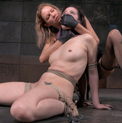 Freya French suffers in bondage nipple clamps forced orgasms