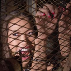 Kalina Ryu in ring gag, hand cuff, cage metal bondage