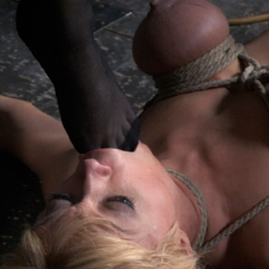 Darling's tits in rope bondage with weighted nipple cla