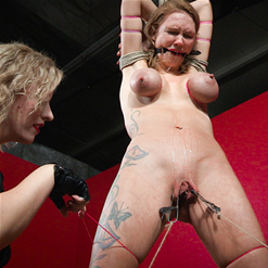 Rope bondage on Rain DeGrey's toes